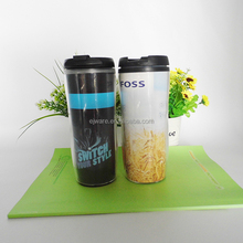 Double wall insulated plastic mug with paper insert travel mug