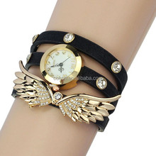 Hot Sales Angel Wings Bracelet Watch Fashion Eagle Wing Rhinestone Studded Long Leather Women Quartz Watches 2015 China