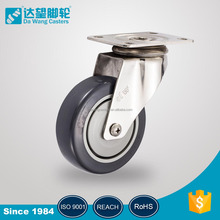 Wholesale grey PU on PP stainless steel double pedals medical swivel plate roller ball caster