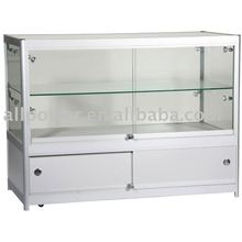Glass cake display cabinet, aluminium frame lockable sliding glass door hardware display cabinet