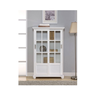 2016 modern teak wood bookcase with glass doors model
