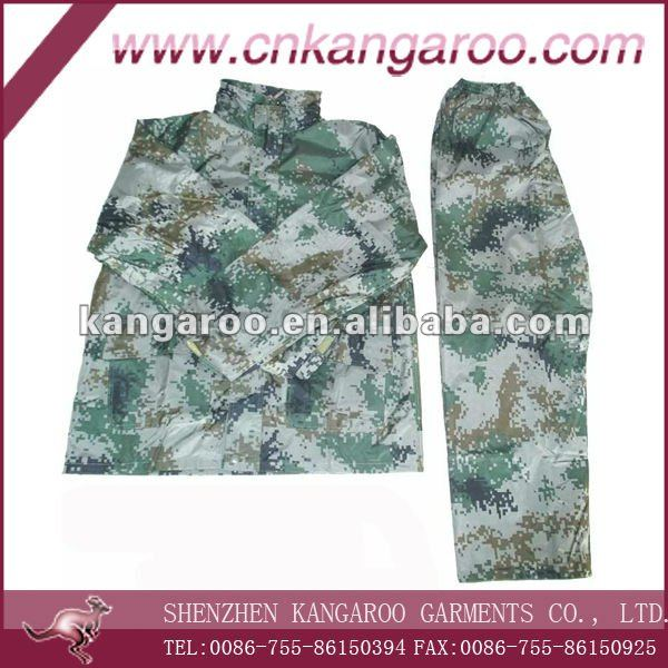 military camouflage rain coat made by polyester with PU coating