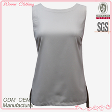 slim fit boat neck sleeveless slid split design for formal blouses pictures