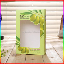 PVC window paper packaging box for olive oil bottle