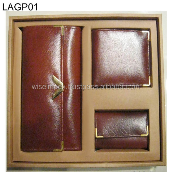 Brown leather wallets and Purse gift packs available customization
