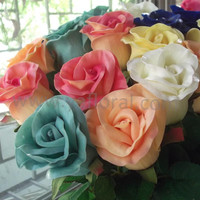 Superior Quality artificial flower rose wholesale PU royal blue real touch flower rose