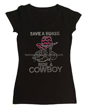 Womens Fashion T-shirt with Save a Horse Ride a Cowboy in Rhinestones
