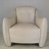 Moutain 1 Seater Vintage White Leather