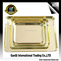 Customized hot sale trendy polish rectangular metal gold stainless steel food serving tray plate gold charger plate