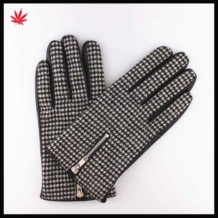 Men's fashion nappa sheep leather gloves with zipper