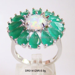 Nice Design ! Flower Copy Emerald With Opal Stone Rings , Big Fashion Emerald Rings For Women DR014129R Accepted By paypal