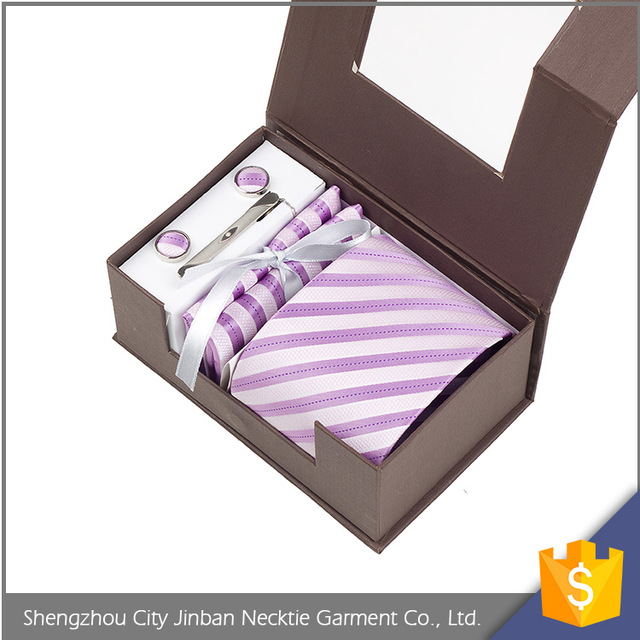 New style custom logo soft polyester material solid color gift box tie sets