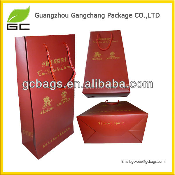 Hot sale cheap custom design paper wine gift bags wholesale
