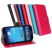 Luxury wallet flip back cover leather case for galaxy s4 mini