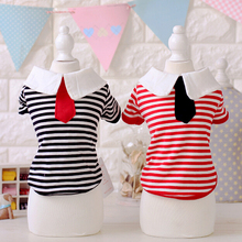 Necktie Stripe Dog Shirts Pet Summer Shirts Wholesale Dogs Clothes And Accessories Pet Store