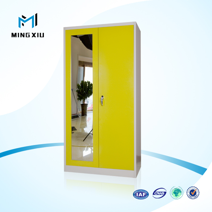 China mingxiu high quality 2 door wardrobe with mirror / metal wardrobe cabinet