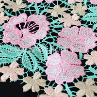3D multicolor & guipure thin style l embroidery design flower lace fabric for dress