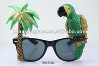 Glitter Novelty Parrot and Palm Tree Sunglasses Green