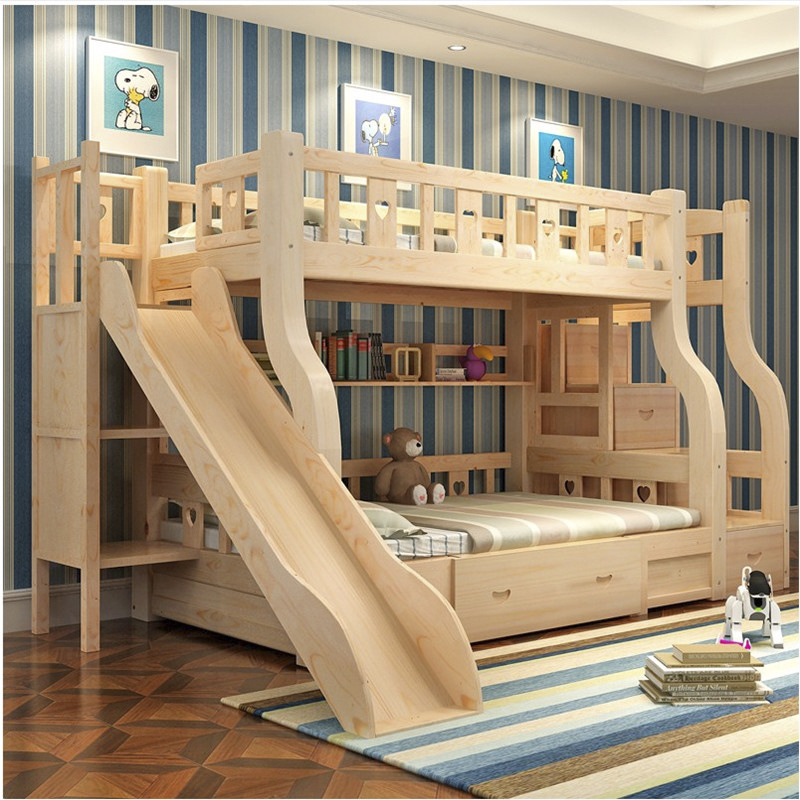 SG0268 Cheap price high quality steps kids modern bunk beds with children's slide