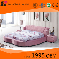 Furniture bedroom sets luxury oval round corner bed with low prices
