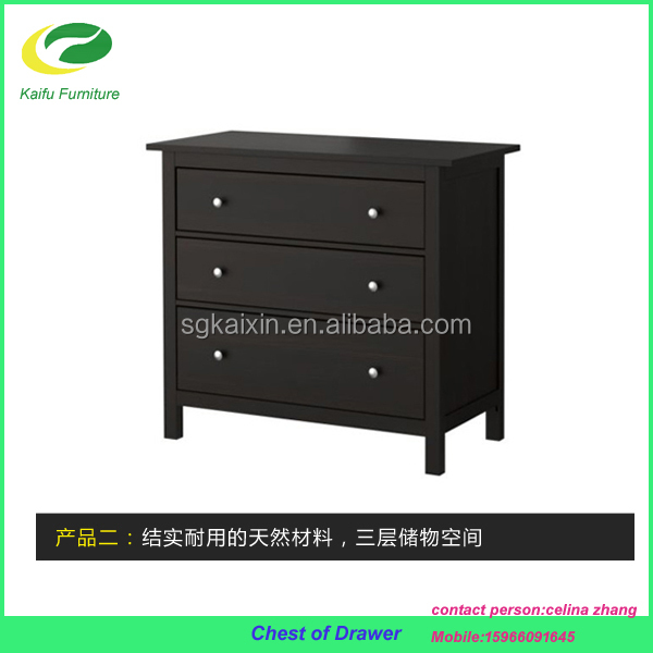 black color melamine MDF wooden chest of drawers