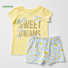 MGOO OEM Floral Print Girls Pajama Sets Cotton T-Shirt Kids Sleepwear Yellow Color Children Nightwear