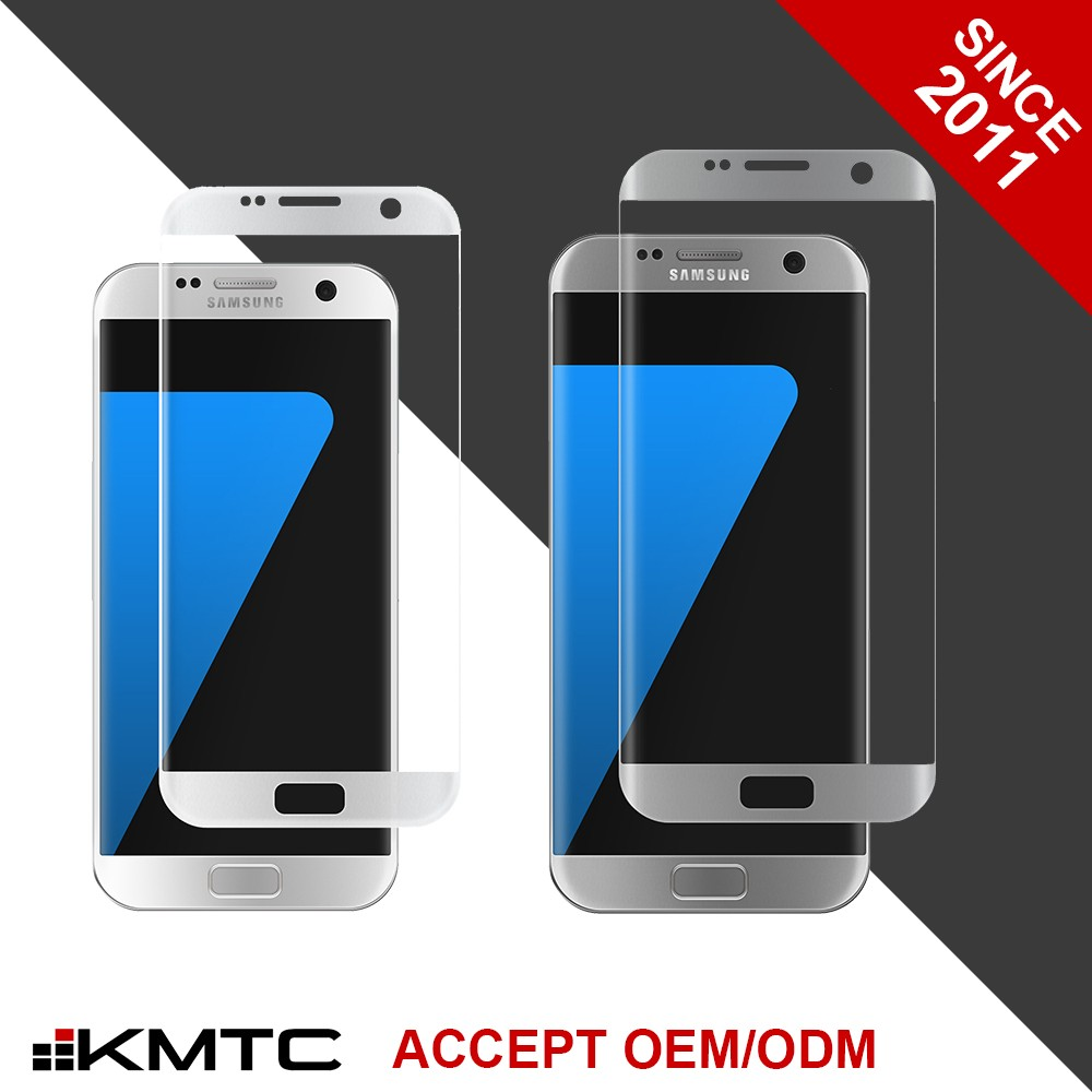 KMTC OEM/ODM 3D Round-edge Full Cover 9h Tempered Glass Screen Protector City Loyal For S7 Edge WHITE