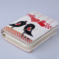 Guangzhou New Design Love Birds Printed PU Wallets and Purses with zipper/Wholesale Fashion Gift