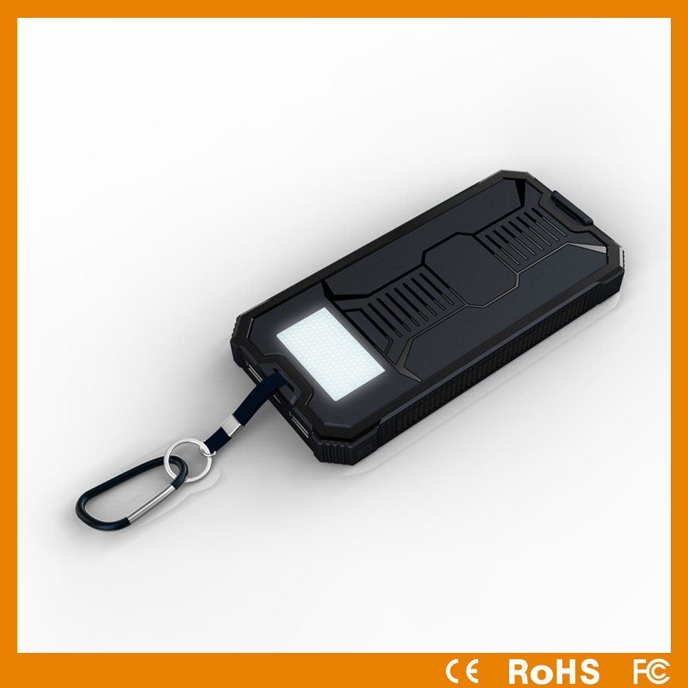 New portable solar panel charger with led torch, solar power bank with 8000mah battery, solar charger for mobile phone