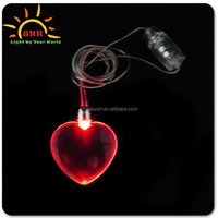 small gift items LED Flashing Heart Necklaces for valentine promotion