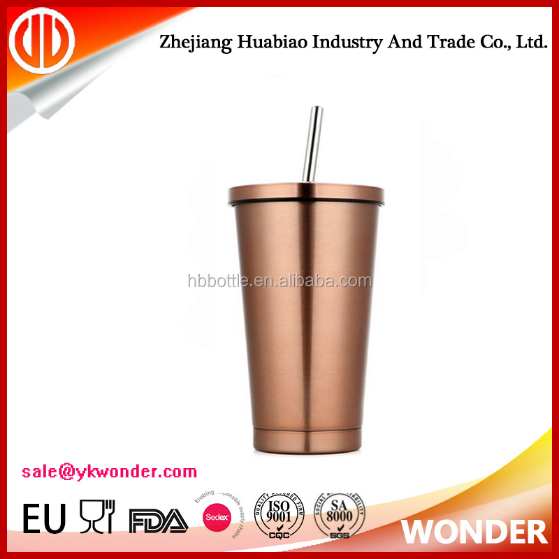 24oz vacuum stainless steel tumbler with lid & straw for wholesale