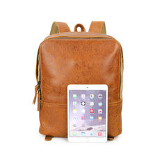 G-Favor YD-8173 Britsh Style Retro Genuine Leather Flashing skin Leather Bag Unisex Backpack Bag 14inch Laptop Bag