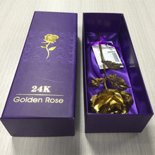 Special Design Rectangle High End Customized Golden Logo ,Dark Purple printing Gift Golden Rose Box And Bag Set