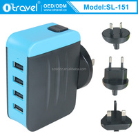 Universal socket charger ac dc travel adaptor 5v 4800ma with 4 usb ports