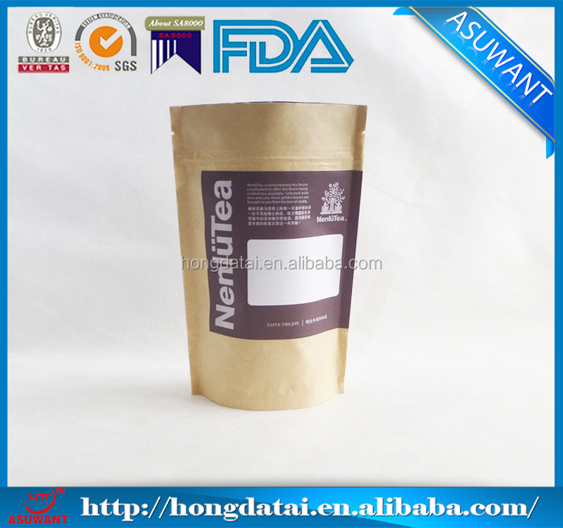 customized design brown stand up pouch with zipper for tea packaging
