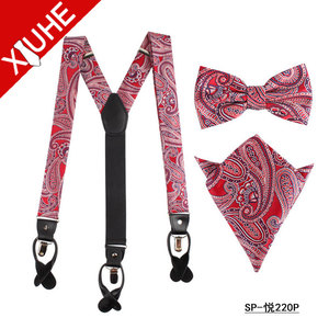 custom red paisley fashion braces suspenders for men
