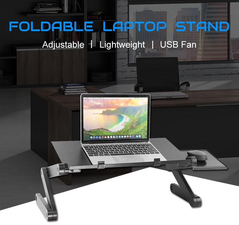 Ergonomic foldable flexible aluminium laptop table cooling stand