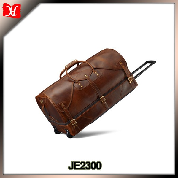 Customized large size mens waterproof wheeled designer rolling duffle bags