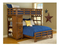 Kids bunk bed solid wood bed with drawer
