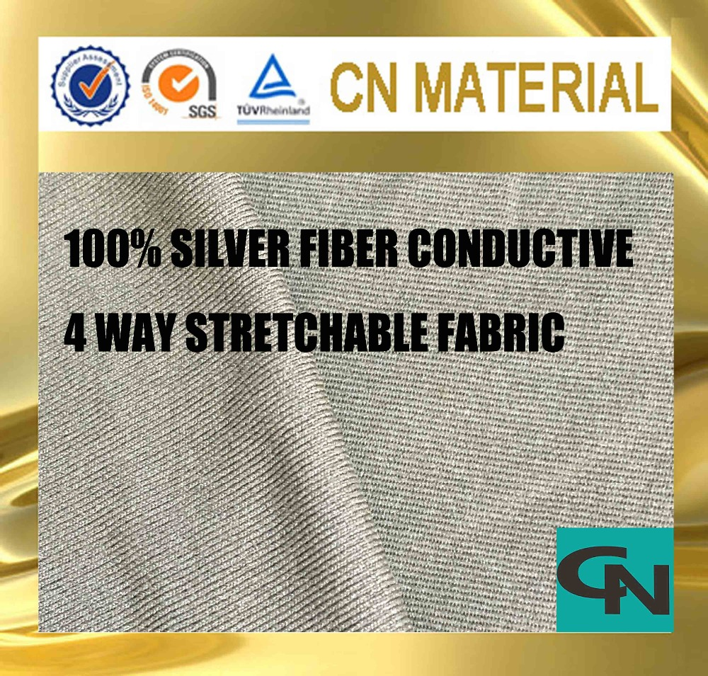 Nano techonology silver fiber four way stretchable conductive fabric