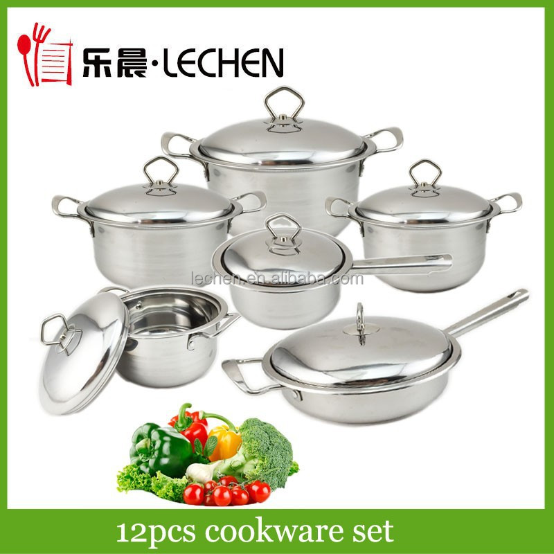 12pcs Stainless Steel Cookware Set Cooking Pot Saucepan Frying Pan No-stick pot Capsulated Bottom Double Bottom