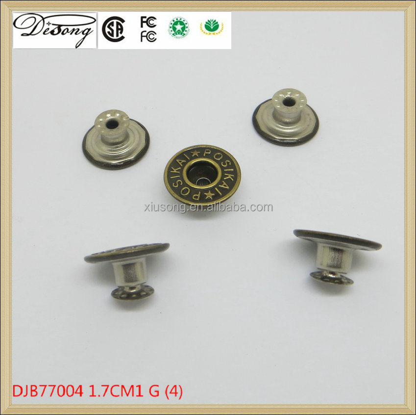 Metal Brass JEANS BUTTON Custom Denim Jeans Shank Button for Jeans