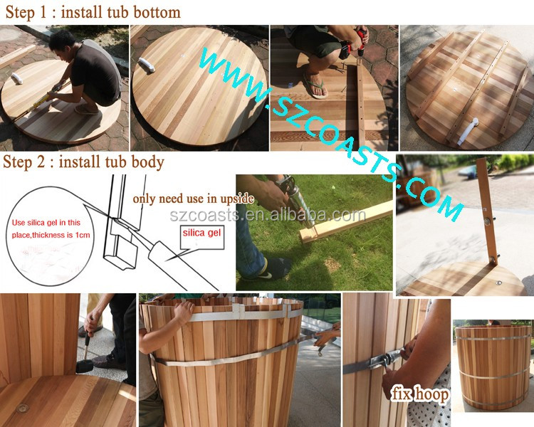 6 persons Outdoor hot SPA outdoor bathtub, wood fired hot tub