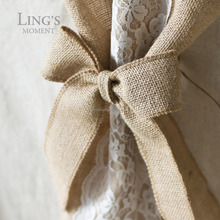 "6""x 8"" Burlap Jute Cheer Bows Hand-made Pre-tied Ribbon Bows Shabby Chic Home Decors Vintage Wedding Decorations"