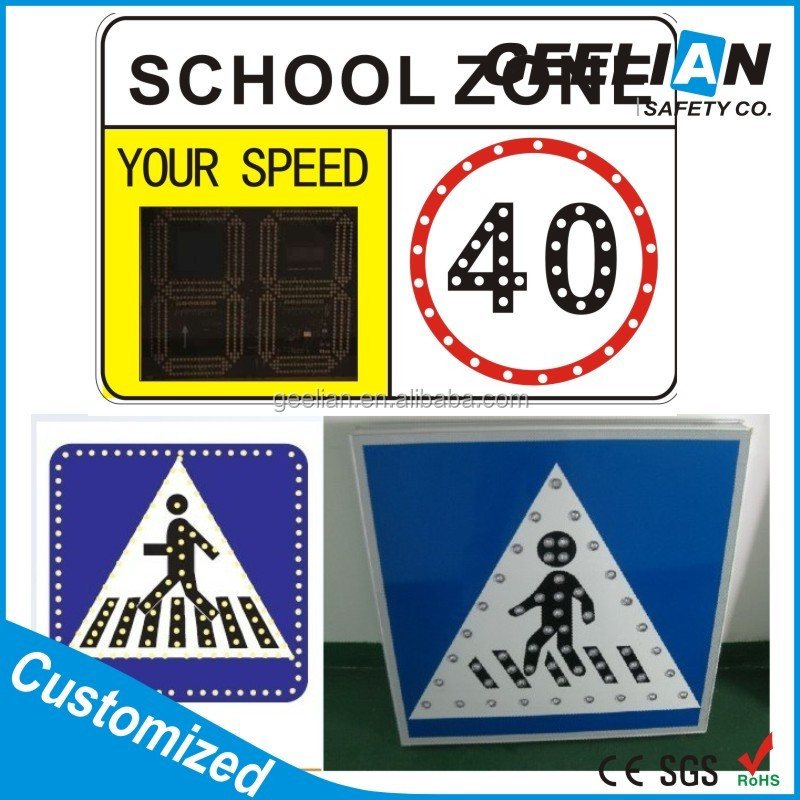 Fixed Variable Speed Limit Electronic Message Centers Warning Programmable LED Sign, Traffic Sign Board