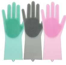 Amazon Hot Selling 1 Pair Silicone Rubber Cleaning Brush Scrubber Gloves Multi-functional Silicone Dishwashing Gloves