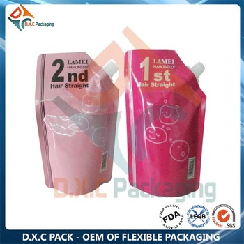 Cutom Printing Hair Cream Packaging Pouch With Spout