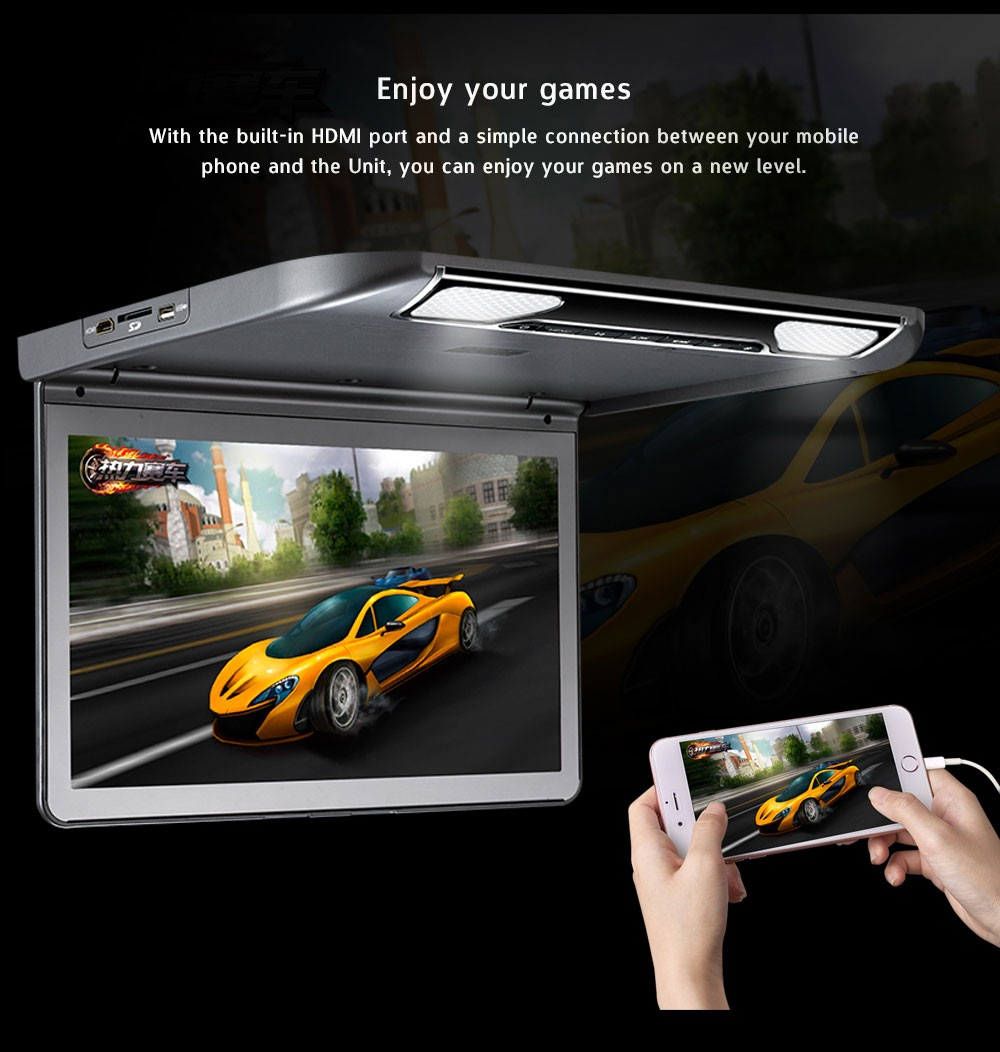 Roof mount flip down led 13 inch car monitor