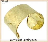 High Quality Polished Finery Hammered Cuff Bracelet, wide gold Armlet, open Upper Arm Bracelet one size fits all