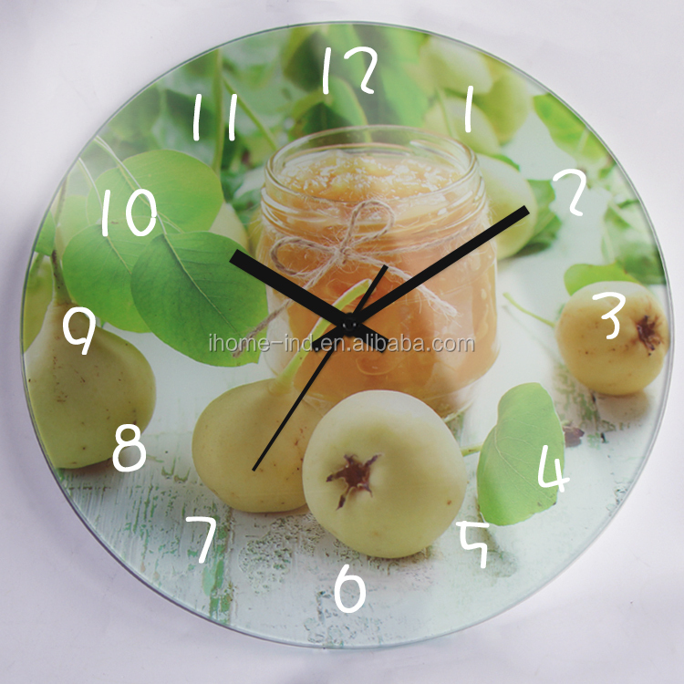 Promotion Gift Glass Clock fruit kitchen wall clock fancy design